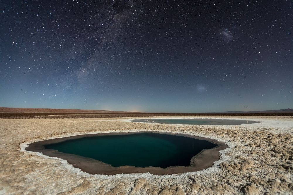 The Baltinache Ponds, also called Hidden Ponds are a set of seven salt ponds located in the area of the Salt Cordillera, near San Pedro de Atacama, in the second region of northern Chile, in the Atacama desert. After much research, I believe to be the first photographer to publish night photos of this place, but it is still necessary to confirm this information. Tech Details: Photography done in one shot. Foreground was illuminated by the moonlight. Reduced exposure in Lightroom in +/- 1EV.